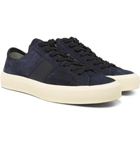 Tom Ford Cambridge Leather Trimmed Suede Sneakers Blue