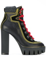 Dsquared2 Lace Up Platform Boots Women Leather Wool Rubber 40 Black