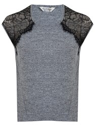 Miss Selfridge Lace Shoulder T Shirt Grey