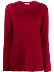 Max Mara 'S Classic Pullover With Pockets Red