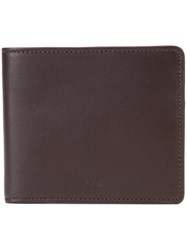 A.P.C. Bifold Wallet Men Cotton Leather Polyester One Size Brown