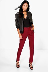 Boohoo 5 Pocket High Rise Skinny Jeans Burgundy