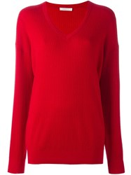 6397 V Neck Ribbed Jumper Red