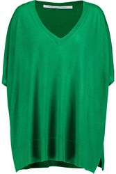 Diane Von Furstenberg Honey Silk And Cashmere Blend Sweater Green