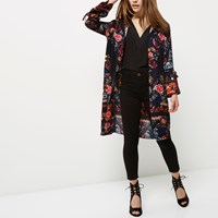 River Island Womens Petite Navy Blue Floral Print Duster Jacket