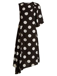 Anna October Asymmetric Polka Dot Print Crepe De Chine Dress Black White
