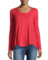 W By Wilt Shrunken Long Sleeve Henley Ruby