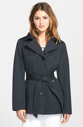 Women's Ellen Tracy Cotton Blend Short Trench Coat Black