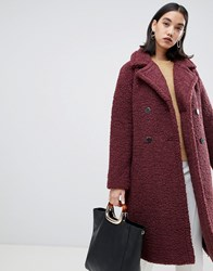 Selected Femme Teddy Wrap Coat Decadent Chocolate Red