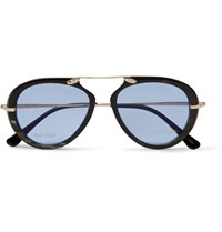 Tom Ford Aviator Style Horn And Gold Tone Sunglasses Black