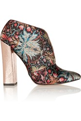 Just Cavalli Metallic Floral Print Satin Ankle Boots