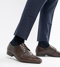 Dune Wide Fit Lace Up Derby Shoes In Brown High Shine