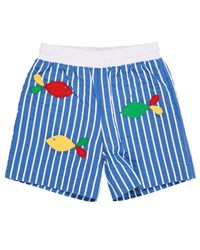 Florence Eiseman Striped Fish Embroidered Swim Trunks Blue White