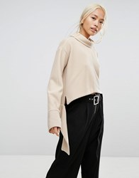 House Of Sunny Oversized High Neck Jumper In Rib With Tie Wiast Stone