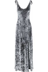 W118 By Walter Baker Crushed Velvet Maxi Dress Gray