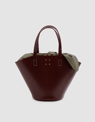 Trademark Large Leather Basket Bag With Gingham Insert Bordeaux