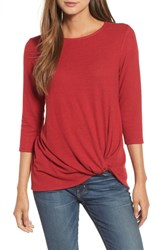 Gibson Petite Twist Front Fleece Top Red Chili