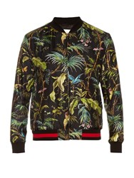 Gucci Tropical Print Silk Bomber Jacket Green Multi