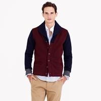 Dehen For J.Crew Shawl Collar Cardigan Sweater In Maroon Colorblock Wool
