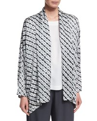 Eskandar Small Diamond Shibori Shawl Collar Jacket Gray