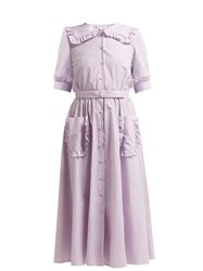 Luisa Beccaria Sailor Collar Gingham Cotton Blend Dress Burgundy