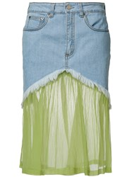 Daizy Shely Panelled Denim Skirt Blue