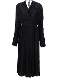 Tome Satin Pleated Wrap Dress Black
