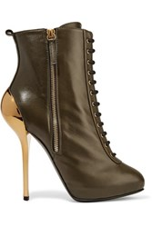 Giuseppe Zanotti Leather Ankle Boots Army Green