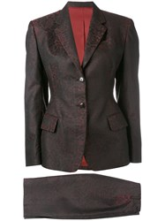 Jean Paul Gaultier Vintage Jacquard Skirt Suit Red
