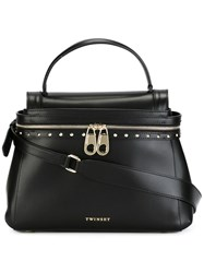 Twin Set Studded Trim Shoulder Bag Black