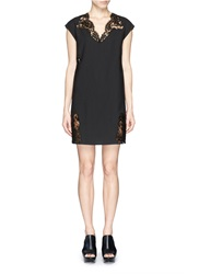 Thakoon Eyelash Lace Insert Pinstripe Dress Black