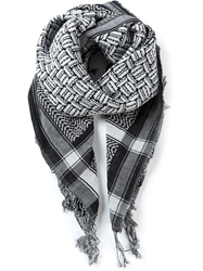 Mcq By Alexander Mcqueen Mixed Pattern Scarf Black