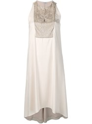 Brunello Cucinelli Sequin Embroidered Dress Neutrals