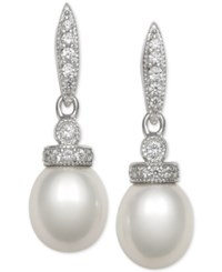Macy's Cultured Freshwater Pearl 7Mm And Cubic Zirconia Drop Earrings In Sterling Silver