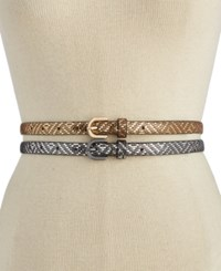 Inc International Concepts Metallic Texture 2 For 1 Skinny Belt Only At Macy's Silver Gold