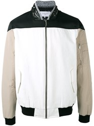 Les Benjamins Zipped Bomber Jacket White
