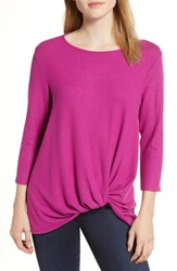 Gibson Cozy Twist Front Pullover Pink Vintner