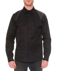 Alexander Mcqueen Leather Harness Long Sleeve Shirt Black
