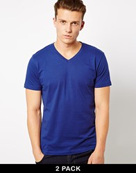 Selected Basic 2 Pack V Neck T Shirt Navy Blue