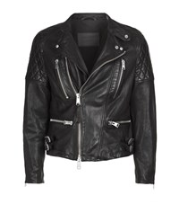 Allsaints Slade Leather Biker Jacket Male Black