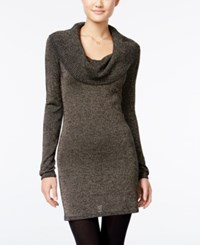 Energie Juniors' Metallic Cowl Neck Sweater Dress Caviar