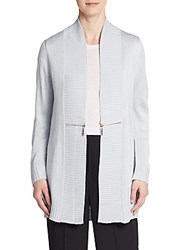 Ivanka Trump Zipper Trim Cardigan Heather Frost
