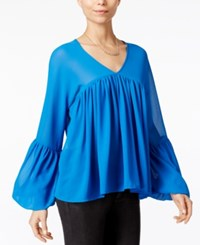 Fair Child Pleated Bell Sleeve Blouse Blue