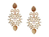 Kendra Scott Aurilla Chandelier Earrings Rose Gold Rose Zellige White Cz Earring