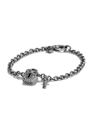 David Yurman Cable Collectibles Lock And Key Charm Bracelet With Diamonds And 18K Gold Silver