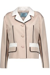 Prada Color Block Wool And Silk Blend Blazer Taupe