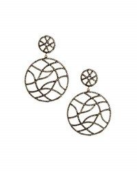 Bavna Champagne Diamond Pave Round Double Drop Earrings