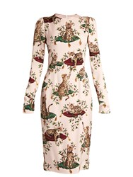 Dolce And Gabbana Cat Print Long Sleeved Cady Dress Leopard