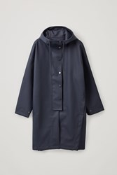 Cos Hooded Raincoat Blue