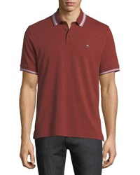 Zegna Sport Pique Polo Shirt With Iconic Flag Logo Red